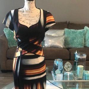 Jessica Simpson open back dress multi color